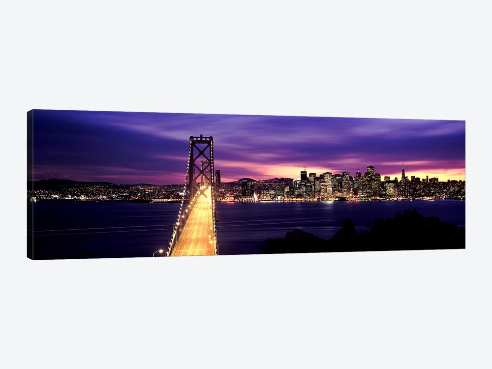 Bridge lit up at dusk, Bay Bridge, San Francisco Bay, San Francisco, California, USA by Panoramic Images 1-piece Art Print
