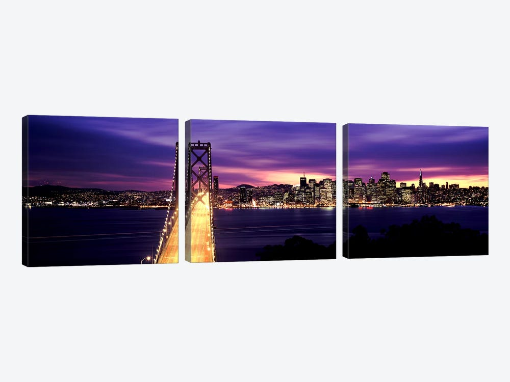 Bridge lit up at dusk, Bay Bridge, San Francisco Bay, San Francisco, California, USA by Panoramic Images 3-piece Canvas Print