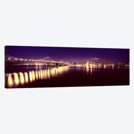 Bridge lit up at nightBay Bridge, San Francisco Bay, San Francisco, California, USA Canvas Print #PIM7834} by Panoramic Images Art Print