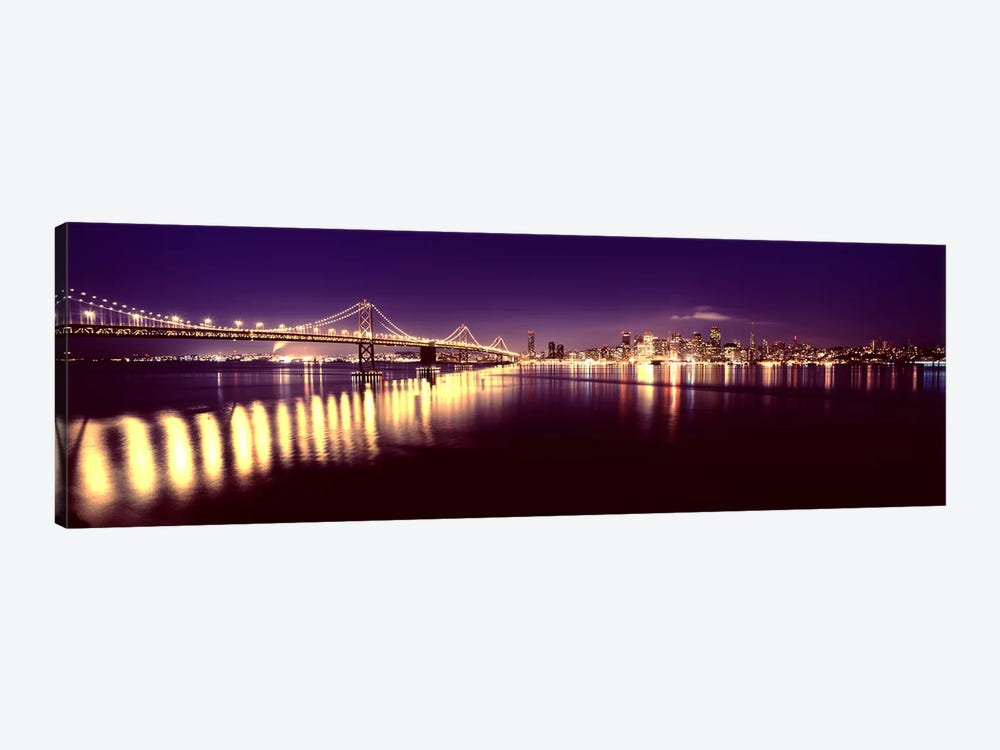 Bridge lit up at nightBay Bridge, San Francisco Bay, San Francisco, California, USA by Panoramic Images 1-piece Canvas Art