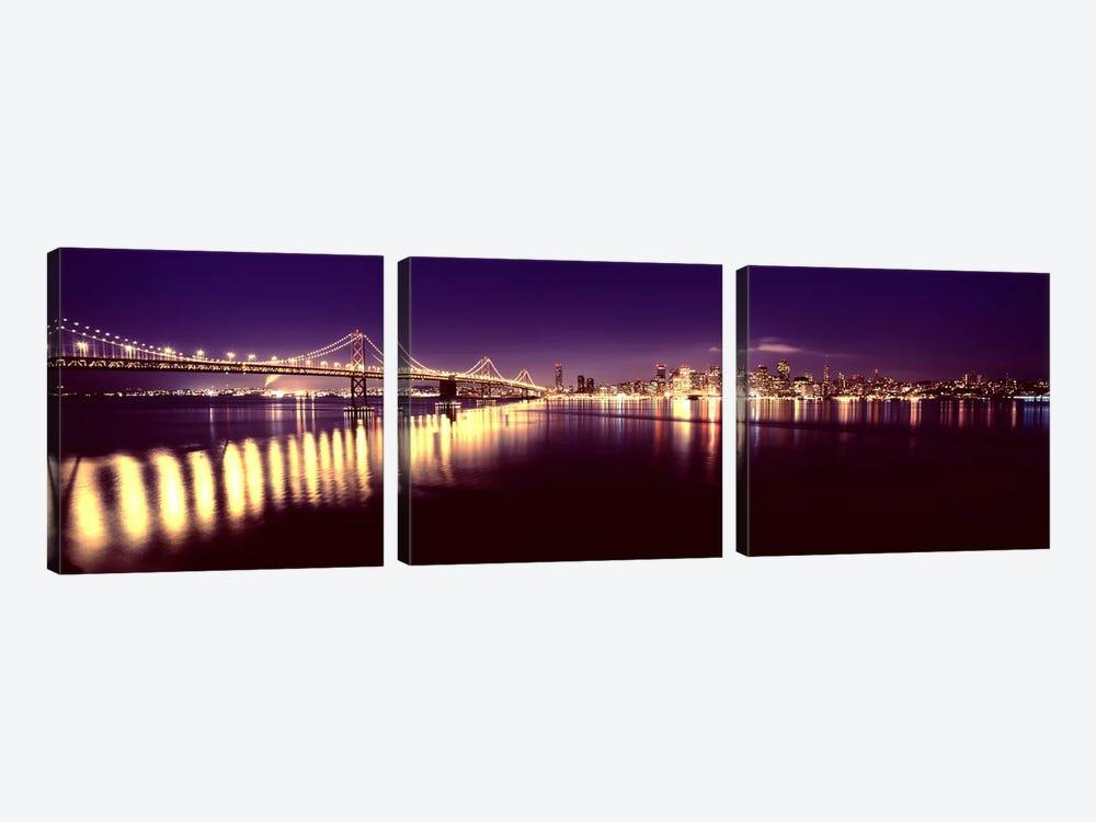 Bridge lit up at nightBay Bridge, San Francisco Bay, San Francisco, California, USA by Panoramic Images 3-piece Canvas Artwork