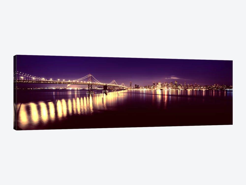Bridge lit up at nightBay Bridge, San Francisco Bay, San Francisco, California, USA by Panoramic Images 1-piece Canvas Art