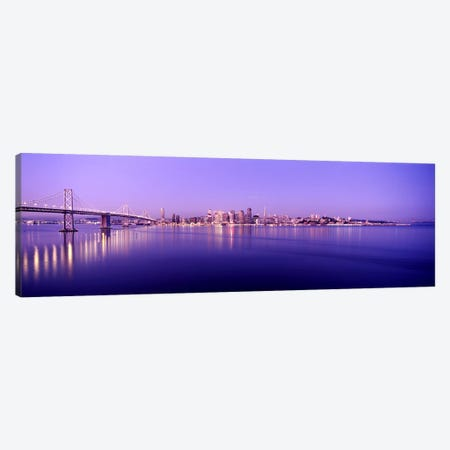 Bridge across a bay with city skyline in the background, Bay Bridge, San Francisco Bay, San Francisco, California, USA Canvas Print #PIM7835} by Panoramic Images Canvas Art Print
