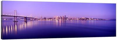 Bridge across a bay with city skyline in the background, Bay Bridge, San Francisco Bay, San Francisco, California, USA Canvas Print #PIM7835