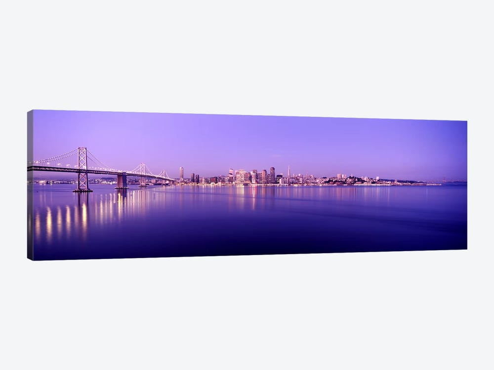 Bridge across a bay with city skyline in the background, Bay Bridge, San Francisco Bay, San Francisco, California, USA by Panoramic Images 1-piece Art Print