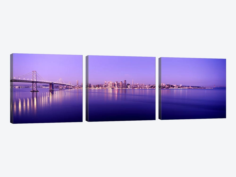 Bridge across a bay with city skyline in the background, Bay Bridge, San Francisco Bay, San Francisco, California, USA by Panoramic Images 3-piece Canvas Art Print