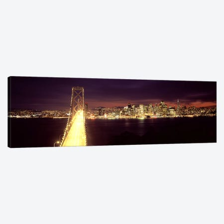Bridge lit up at night, Bay Bridge, San Francisco Bay, San Francisco, California, USA Canvas Print #PIM7836} by Panoramic Images Canvas Art Print