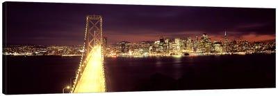 Bridge lit up at night, Bay Bridge, San Francisco Bay, San Francisco, California, USA Canvas Print #PIM7836