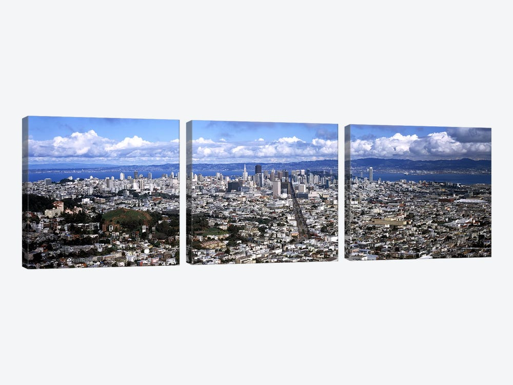 Cityscape viewed from the Twin Peaks, San Francisco, California, USA #2 by Panoramic Images 3-piece Canvas Art Print