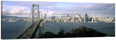 Bridge across a bay with city skyline in the background, Bay Bridge, San Francisco Bay, San Francisco, California, USA #3 Canvas Art Print
