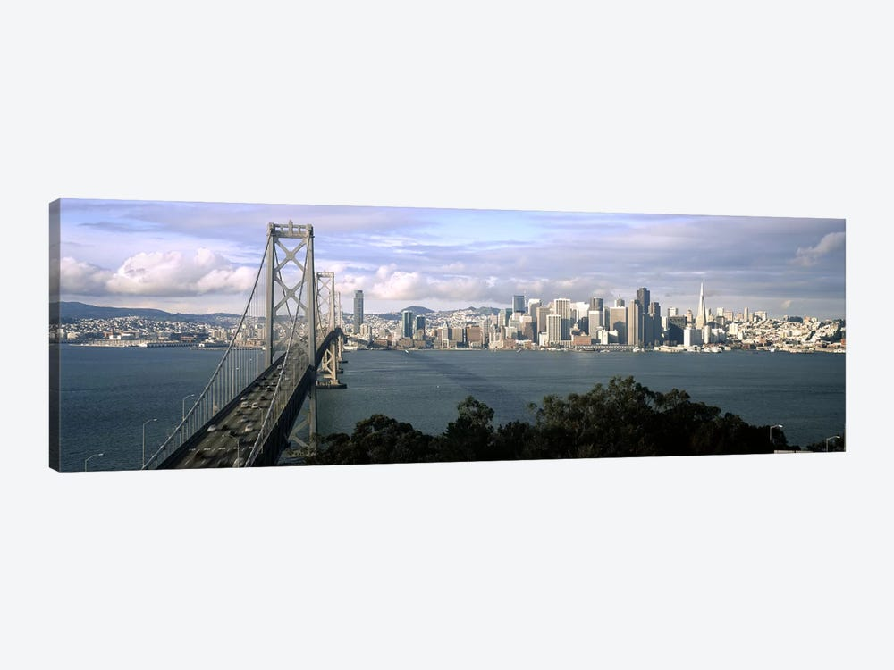 Bridge across a bay with city skyline in the background, Bay Bridge, San Francisco Bay, San Francisco, California, USA #3 by Panoramic Images 1-piece Canvas Art Print