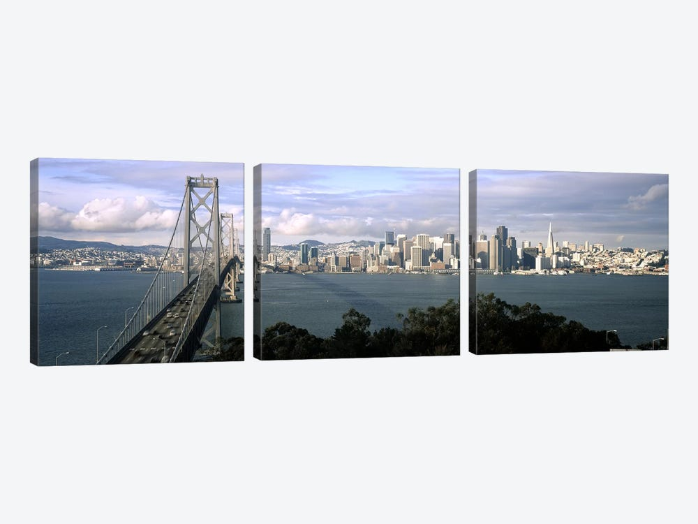 Bridge across a bay with city skyline in the background, Bay Bridge, San Francisco Bay, San Francisco, California, USA #3 by Panoramic Images 3-piece Canvas Art Print