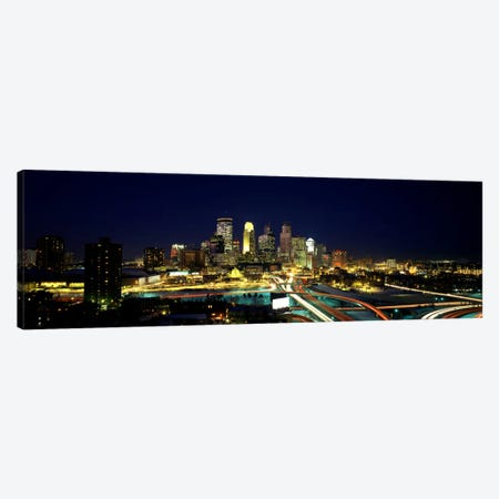 Buildings lit up at night in a cityMinneapolis, Hennepin County, Minnesota, USA Canvas Print #PIM783} by Panoramic Images Canvas Art Print