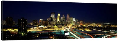 Buildings lit up at night in a cityMinneapolis, Hennepin County, Minnesota, USA Canvas Art Print