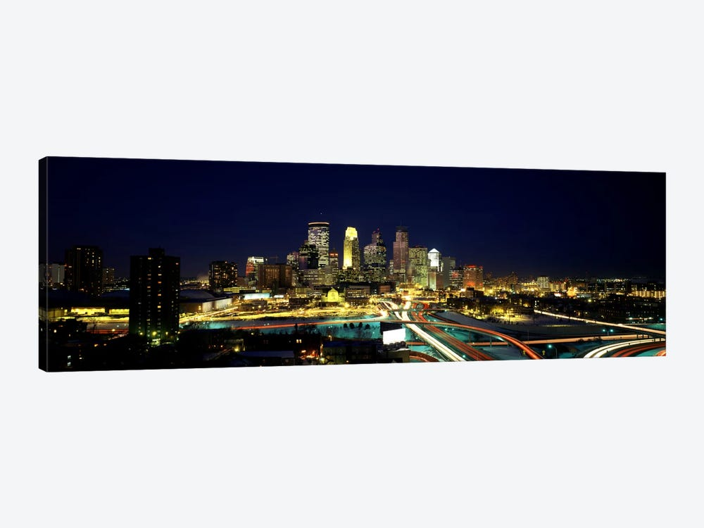 Buildings lit up at night in a cityMinneapolis, Hennepin County, Minnesota, USA by Panoramic Images 1-piece Canvas Artwork