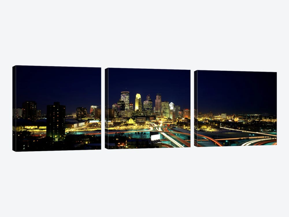 Buildings lit up at night in a cityMinneapolis, Hennepin County, Minnesota, USA by Panoramic Images 3-piece Canvas Artwork