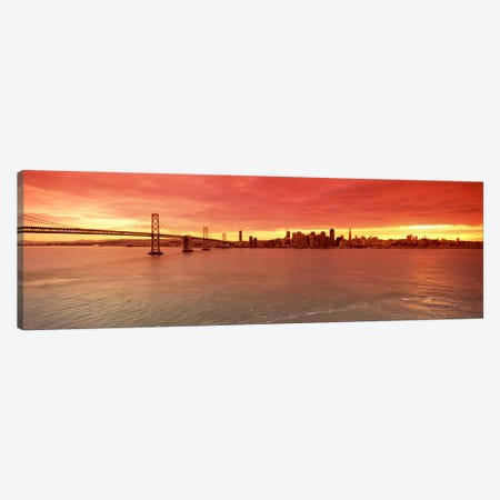 Bridge across a bay with city skyline in the background, Bay Bridge, San Francisco Bay, San Francisco, California, USA #4 Canvas Print #PIM7840} by Panoramic Images Canvas Print