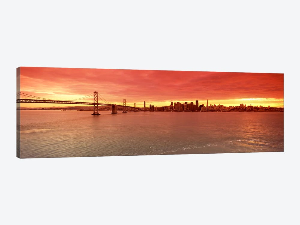 Bridge across a bay with city skyline in the background, Bay Bridge, San Francisco Bay, San Francisco, California, USA #4 by Panoramic Images 1-piece Art Print