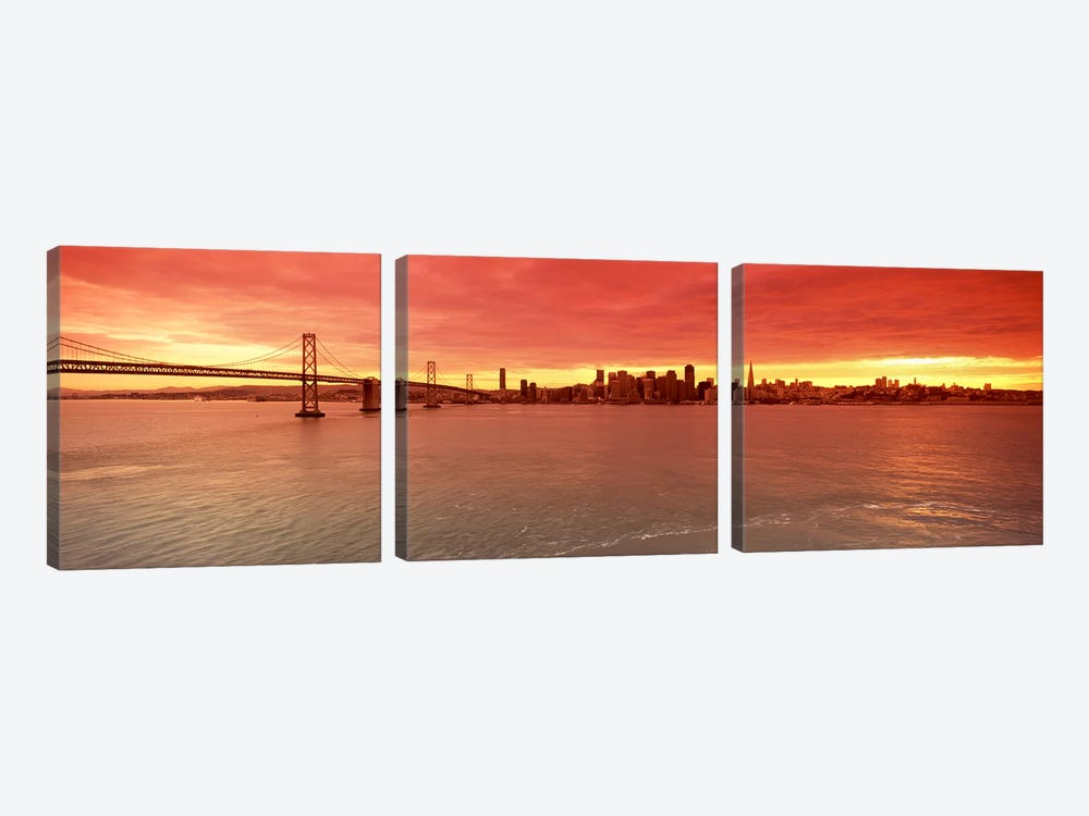 Bridge across a bay with city skyline in the background, Bay Bridge, San Francisco Bay, San Francisco, California, USA #4 by Panoramic Images 3-piece Canvas Print
