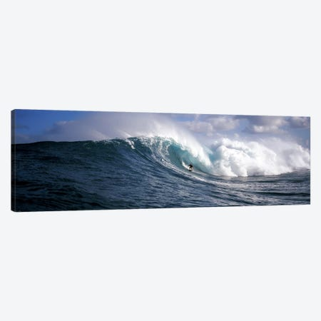 Lone Surfer Riding A Plunging Breaker, Maui, Hawai'i, USA Canvas Print #PIM7849} by Panoramic Images Canvas Print