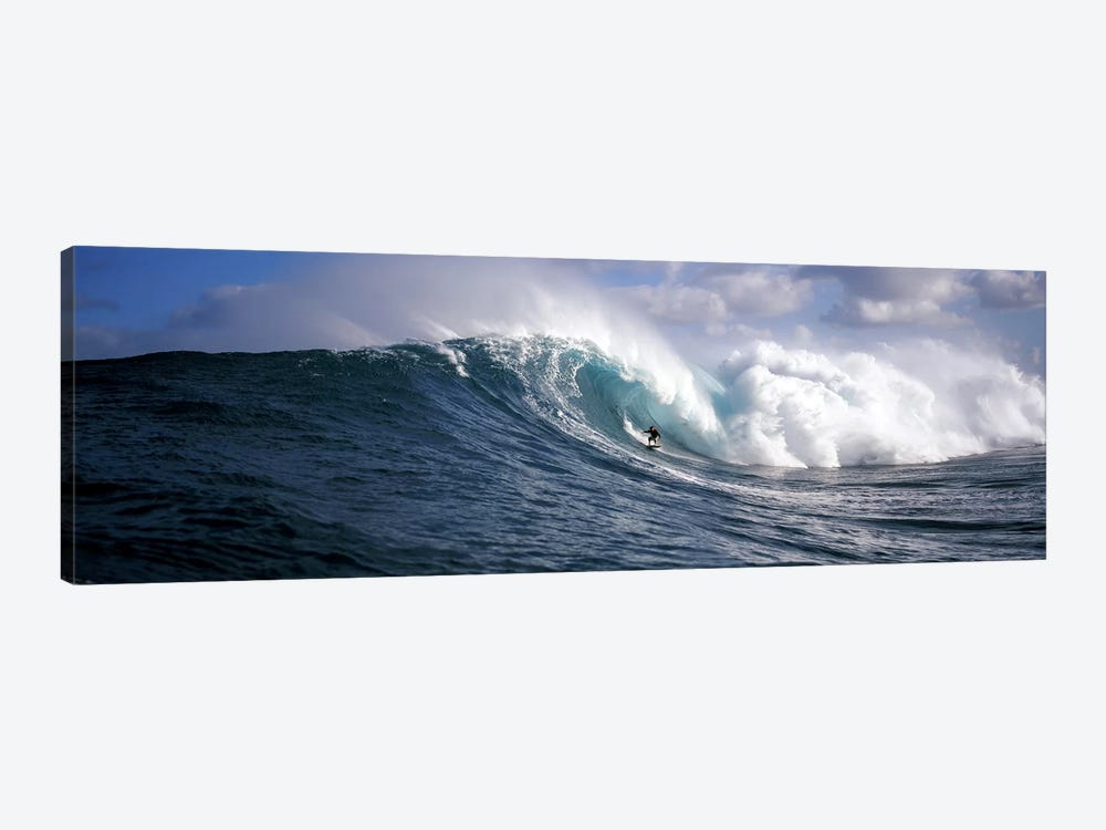 Lone Surfer Riding A Plunging Breaker, Maui, Hawai'i, USA by Panoramic Images 1-piece Canvas Wall Art