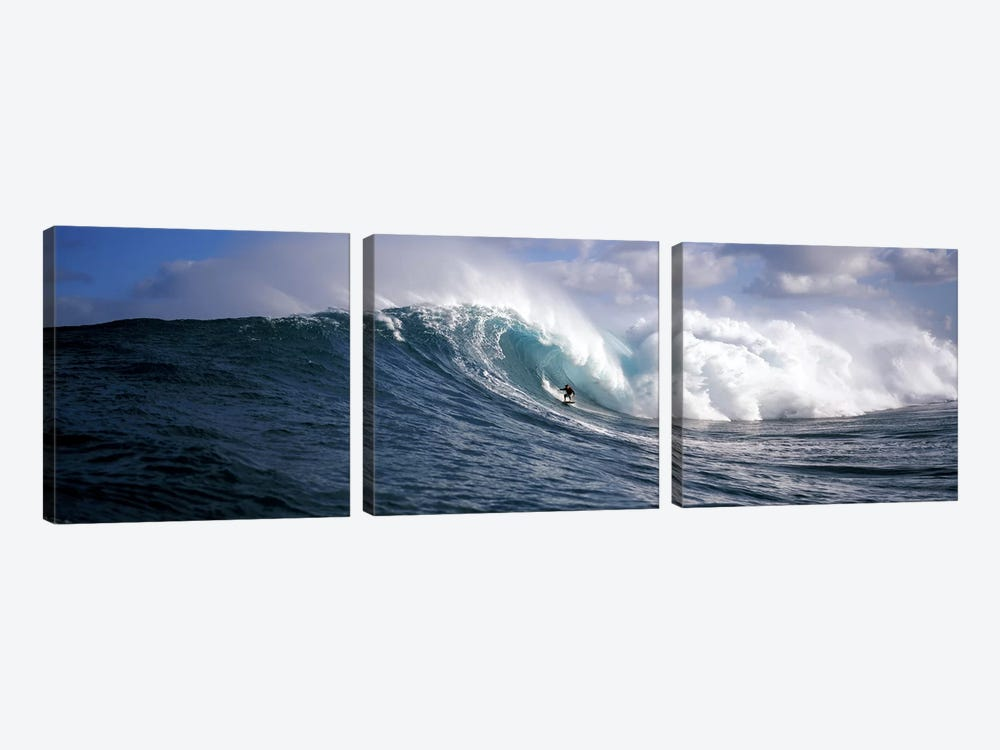 Lone Surfer Riding A Plunging Breaker, Maui, Hawai'i, USA by Panoramic Images 3-piece Canvas Art