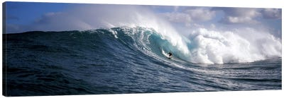 Lone Surfer Riding A Plunging Breaker, Maui, Hawai'i, USA Canvas Art Print