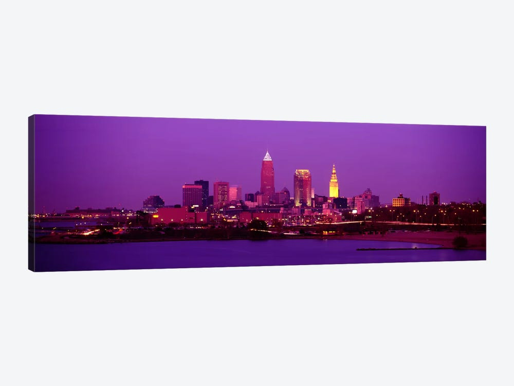 Buildings Lit Up At NightCleveland, Ohio, USA by Panoramic Images 1-piece Canvas Print