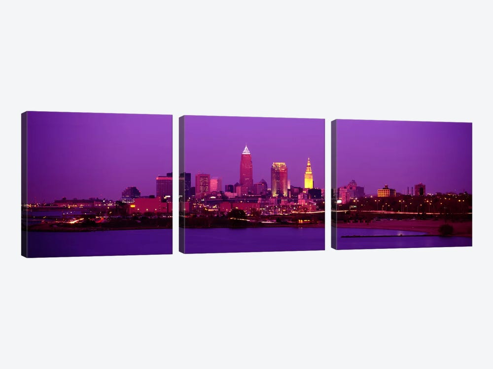 Buildings Lit Up At NightCleveland, Ohio, USA by Panoramic Images 3-piece Art Print