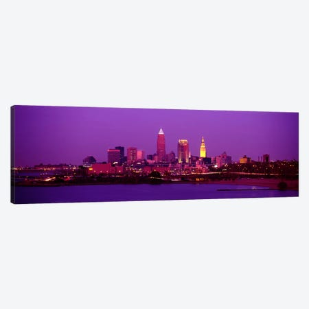 Buildings Lit Up At NightCleveland, Ohio, USA Canvas Print #PIM784} by Panoramic Images Canvas Art