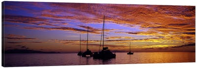 Sailboats in the sea, Tahiti, French Polynesia Canvas Print #PIM7850
