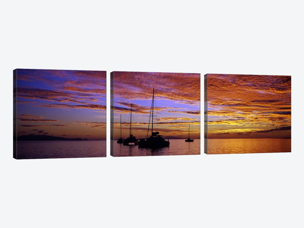 Sailboats in the sea, Tahiti, French Polynesia 3-piece Canvas Art
