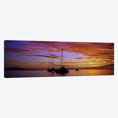Sailboats in the sea, Tahiti, French Polynesia Canvas Print #PIM7850} by Panoramic Images Canvas Wall Art