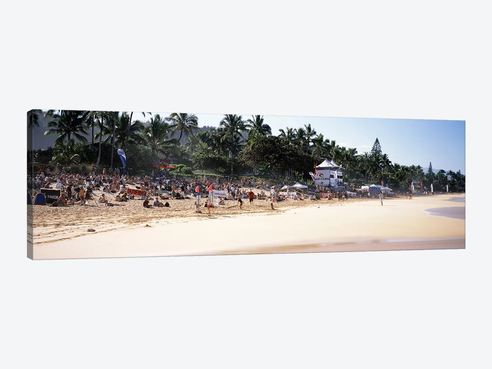 Tourists on the beach, North Shore, Oahu, Hawaii, USA by Panoramic Images 1-piece Canvas Artwork