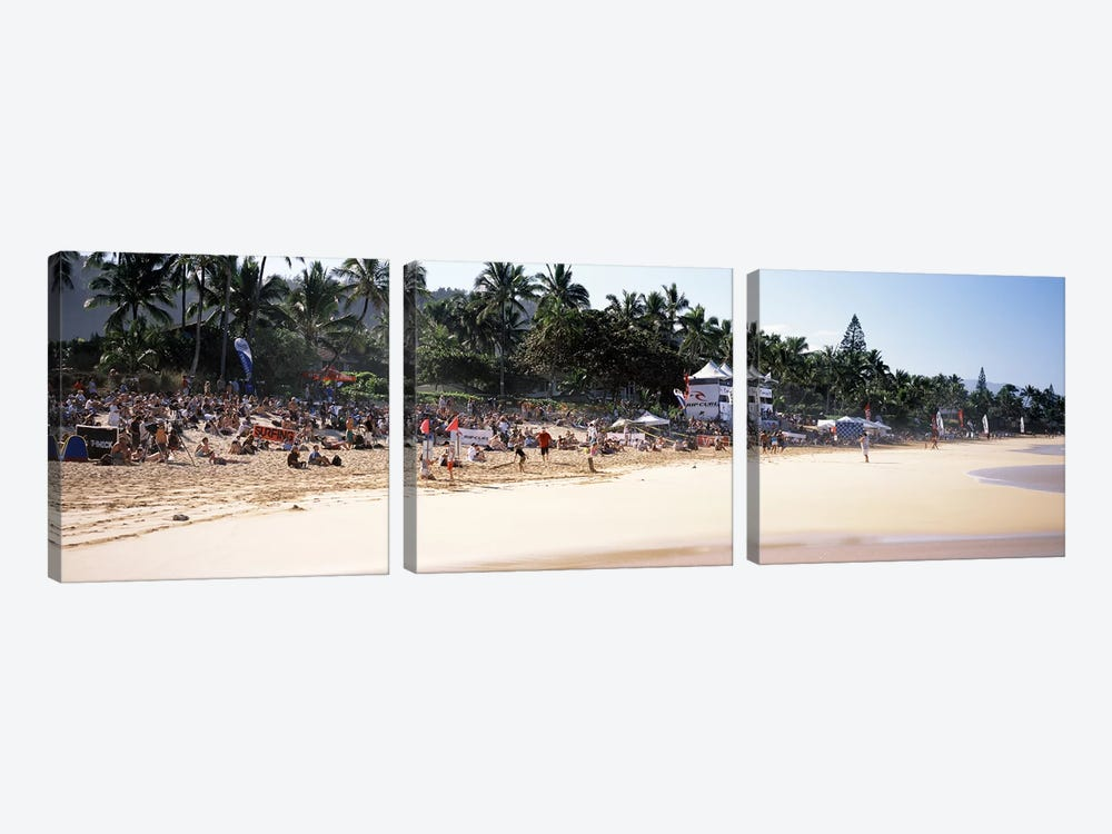 Tourists on the beach, North Shore, Oahu, Hawaii, USA by Panoramic Images 3-piece Canvas Wall Art