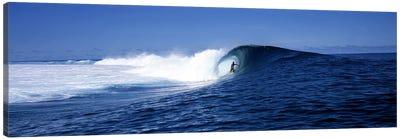 Lone Surfer Riding A Plunging Breaker, Tahiti, Windward Islands, Society Islands, French Poilynesia Canvas Print #PIM7857