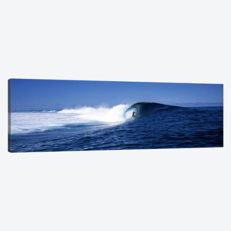 Lone Surfer Riding A Plunging Breaker, Tahiti, Windward Islands, Society Islands, French Poilynesia 3-Piece Canvas #PIM7857} by Panoramic Images Canvas Art Print