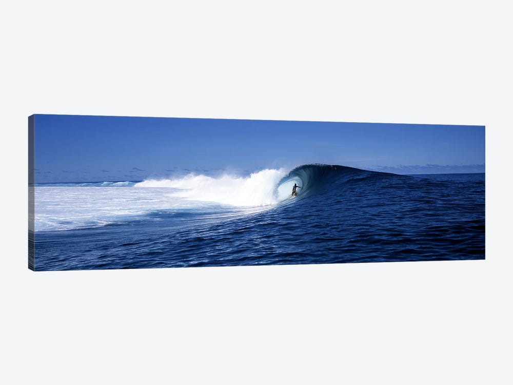 Lone Surfer Riding A Plunging Breaker, Tahiti, Windward Islands, Society Islands, French Poilynesia by Panoramic Images 1-piece Canvas Art Print