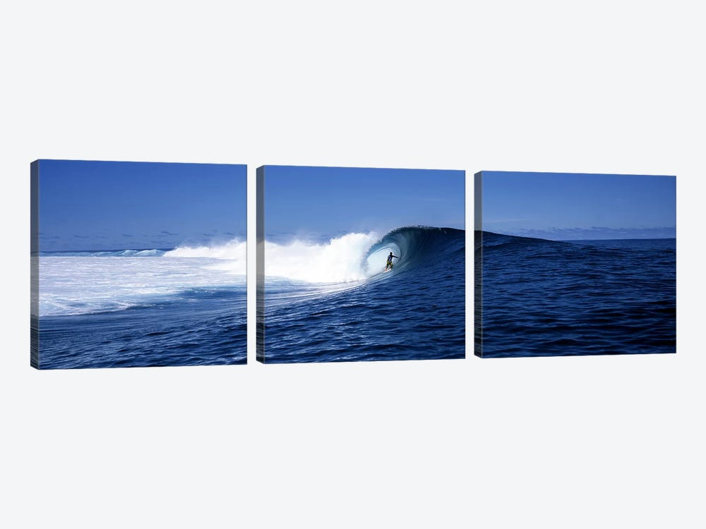 Lone Surfer Riding A Plunging Breaker, Tahiti, Windward Islands, Society Islands, French Poilynesia by Panoramic Images 3-piece Canvas Art Print