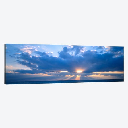 Heavenly Cloudy Sunset Over The Gulf Of Mexico Canvas Print #PIM785} by Panoramic Images Canvas Art
