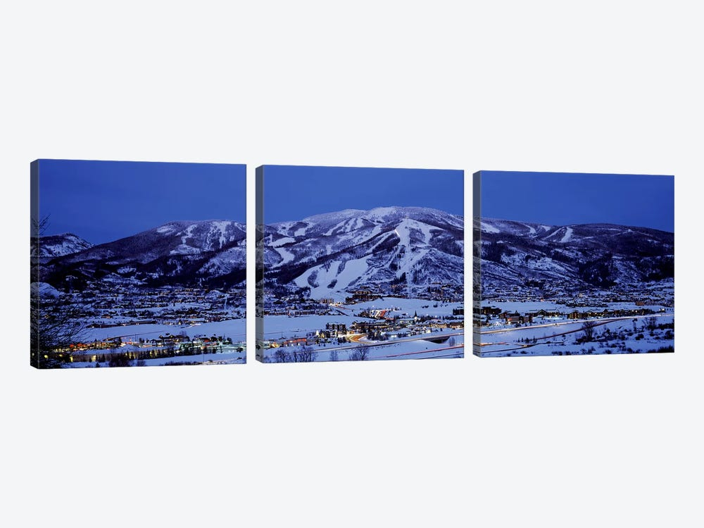 Illuminated Landscape, Mt. Werner, Steamboat Springs, Routt County, Colorado, USA by Panoramic Images 3-piece Canvas Artwork