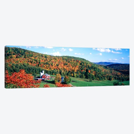 Autumnal Countryside Landscape, Hillside Acres Farm, Barnet, Vermont, USA Canvas Print #PIM786} by Panoramic Images Canvas Wall Art