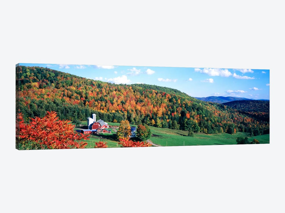 Autumnal Countryside Landscape, Hillside Acres Farm, Barnet, Vermont, USA by Panoramic Images 1-piece Canvas Art Print