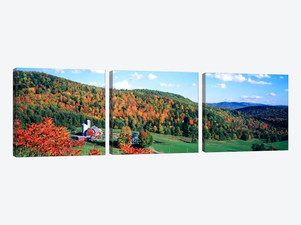 Autumnal Countryside Landscape, Hillside Acres Farm, Barnet, Vermont, USA by Panoramic Images 3-piece Art Print