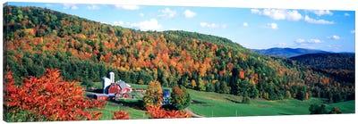 Autumnal Countryside Landscape, Hillside Acres Farm, Barnet, Vermont, USA Canvas Art Print