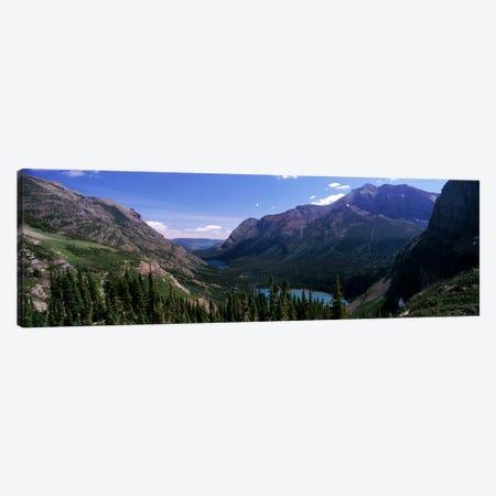 Mountain Valley Landscape, Glacier National Park, Montana, USA 3-Piece Canvas #PIM7875} by Panoramic Images Art Print
