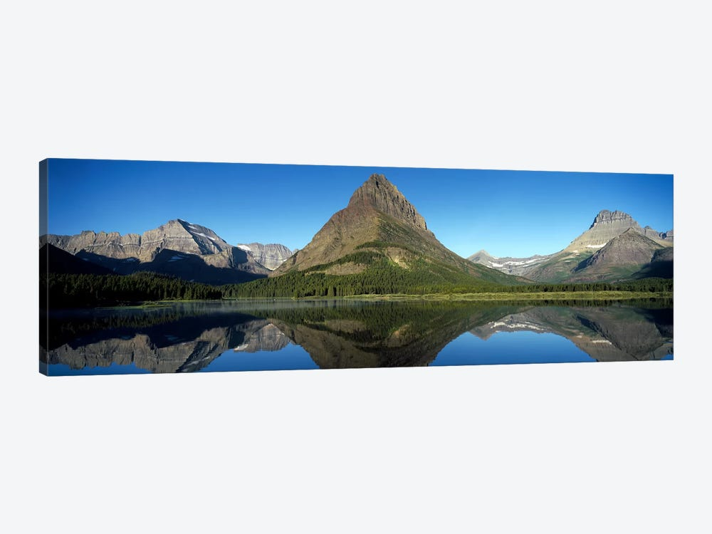 Mount Wilbur And Its Reflection In Swiftcurrent Lake, Many Glacier Region, Glacier National Park, Montana, USA by Panoramic Images 1-piece Canvas Wall Art