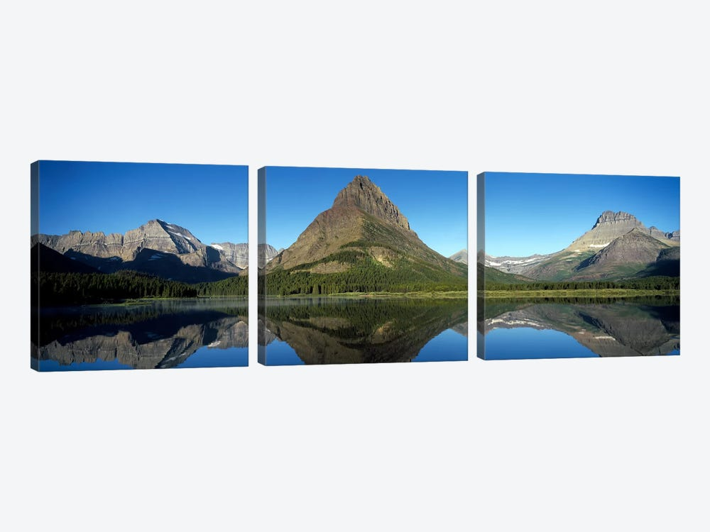 Mount Wilbur And Its Reflection In Swiftcurrent Lake, Many Glacier Region, Glacier National Park, Montana, USA by Panoramic Images 3-piece Canvas Artwork