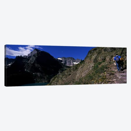 Hikers hiking on a mountain, US Glacier National Park, Montana, USA Canvas Print #PIM7882} by Panoramic Images Art Print
