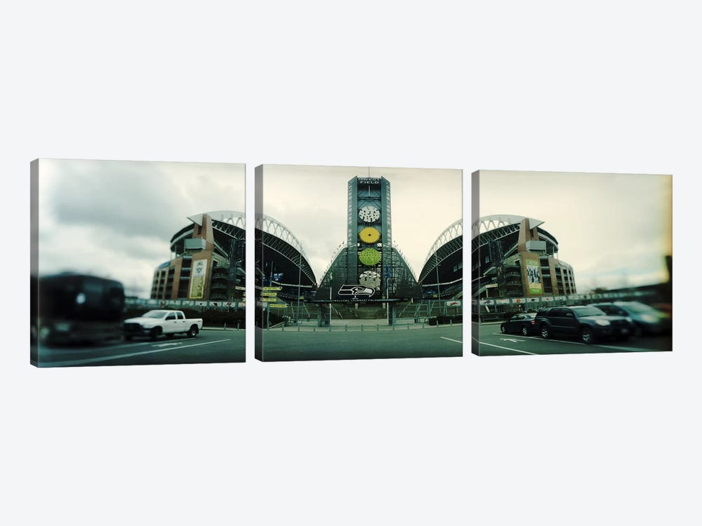 Facade of a stadium, Qwest Field, Seattle, Washington State, USA by Panoramic Images 3-piece Canvas Artwork